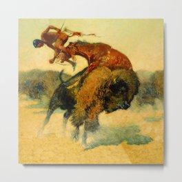 "Frederic Remington Western Art ""Episode – Buffalo Hunt"" Metal Print"
