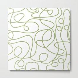 Doodle Line Art | Spring Leaf Green Lines on White Background Metal Print