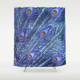 Purple Peacock Feathers Shower Curtain