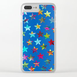Colorful Pinwheels on Blue Background Clear iPhone Case