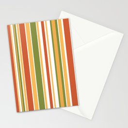 Retro Stripes - Mid Century Modern 50s 60s 70s Pattern in Green, Orange, Yellow, and White Stationery Cards