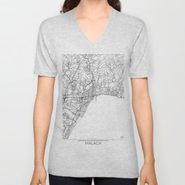 Malaga Map White Unisex V-Neck