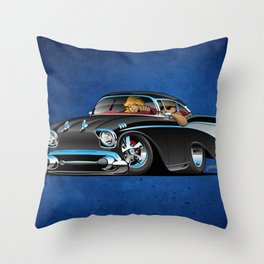 Classic hot rod fifties muscle car with cool couple cartoon Throw Pillow