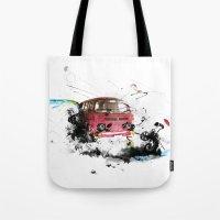 volkswagen Tote Bags featuring volkswagen van by Adriana Bermúdez