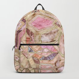 Geometric Gilded Stone Tiles in Blush Pink, Peach and Coral Backpack