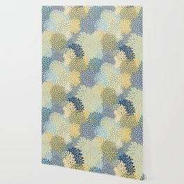 Floral Print, Yellow, Gray, Blue, Teal Wallpaper