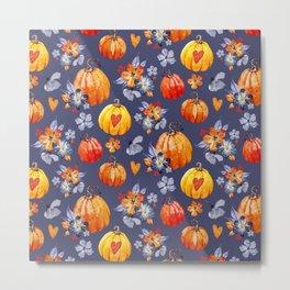 Happy halloween pumpkins and flowers Metal Print