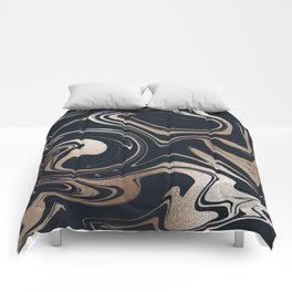 Beautiful Modern Navy & Gold Marble Comforters