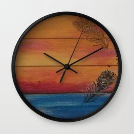Rising Sun. My Orginal Abstract Painting by Jodilynpaintings. Abstract Sunset With Feathers. Beach Wall Clock