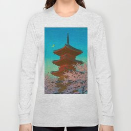 Vintage Japanese Woodblock Print Pastel Colors Blue pink Teal Shinto Shrine Cherry Blossom Tree Long Sleeve T-shirt