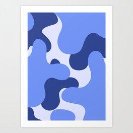 Blue Camo  Art Print