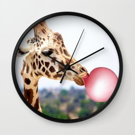 Bubble Gum Giraffe Wall Clock