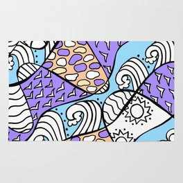 Doodle Art Drawing - Seagulls Rocks and Waves - Blue Purple Rug
