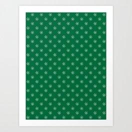 White on Cadmium Green Snowflakes Art Print