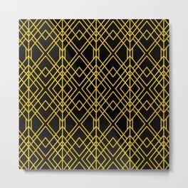Chicago Cigar Bar Gold and Black Art Deco Metal Print