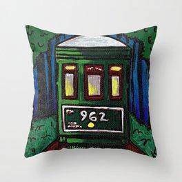 St. Charles Streetcar at Night Throw Pillow