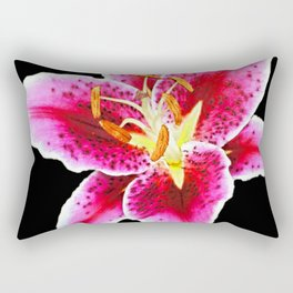 FUCHSIA PINK ASIATIC LILY FLOWER BLACK Rectangular Pillow