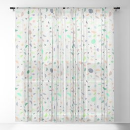 Pretty Pastels Droplets Wedges Pattern - Orange, Purple, Turquoise, Green Sheer Curtain