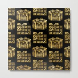 Golden Christmas Present Decor Metal Print