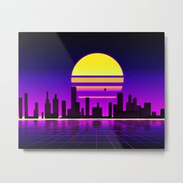 retrowave sunset Metal Print