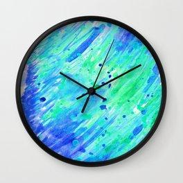 Abstract watercolor blue and green Wall Clock