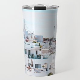 Santorini Greece Ligh Blue Sky Travel Mug