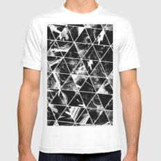 Geometric Whispers - Abstract, black and white triangular, geometric pattern White Mens Fitted Tee MEDIUM