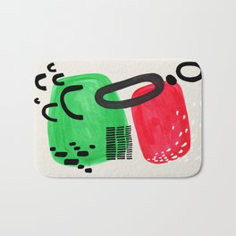 Mid Century Modern Abstract Vintage Colorful Shapes Patterns Red Green Bubbles Bath Mat