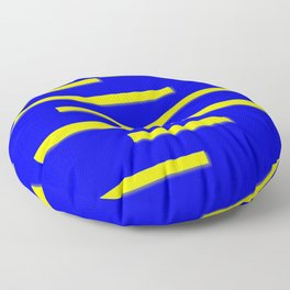 Bright Blue, Bright Yellow Graphic Design Floor Pillow