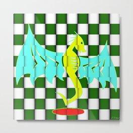 Untamed Dragon on Green Checkers Metal Print