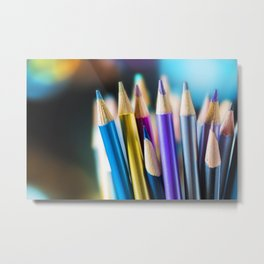 METTALIC COLORED PENCILS Metal Print