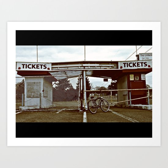 Abandoned tickets booth Art Print