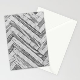 Vintage Diagonal Design //Black and White Wood Accent Decoration Hand Scraped Design Stationery Cards
