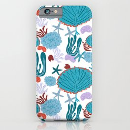 Cute Vibrant Coral Cluster Pattern in Blue iPhone Case