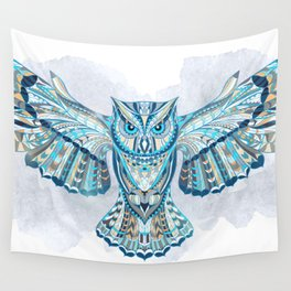Blue Ethnic Owl Wall Tapestry