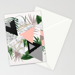Abstract of geometric patterns with plants and marble Stationery Cards