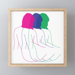 MOVING IN COLOUR - Nude lady line drawing - Minimal line art - Nude art print Framed Mini Art Print