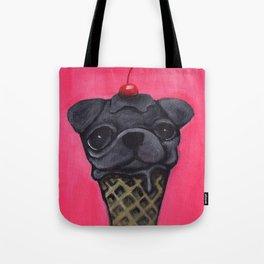 """Cherry on Pup"" Black Pug Tote Bag"