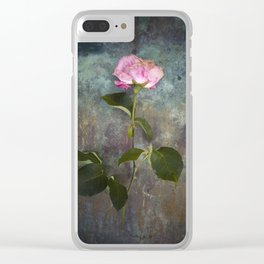 Single Wilted Rose Clear iPhone Case
