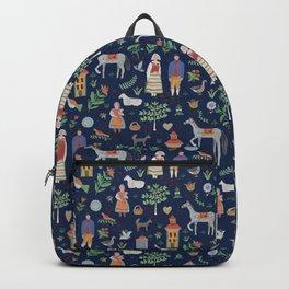 Swedish Folk Art - Blue Backpack