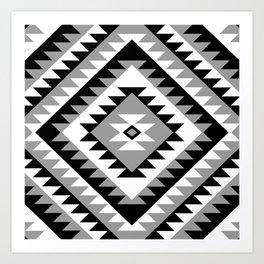 Aztec Motif Diamond Monochrome Art Print