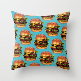 Cheeseburger Pattern Throw Pillow