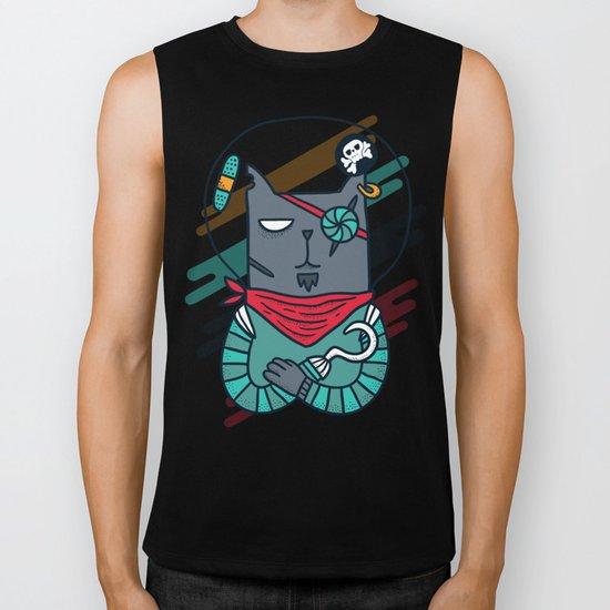Space pirate cat Biker Tank