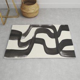 Mid Century Modern Minimalist Abstract Art Brush Strokes Black & White Ink Art Ripple Lines Rug