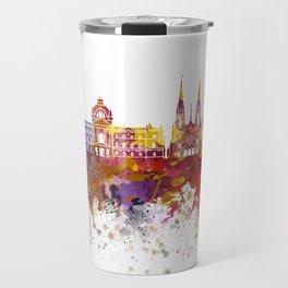 Strasbourg skyline in watercolor background Travel Mug