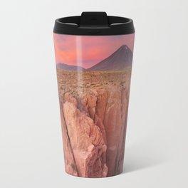 II - Narrow canyon and Volcan Licancabur, Atacama Desert, Chile at sunset Travel Mug