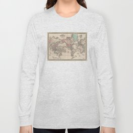 Vintage Map of The World (1870) Long Sleeve T-shirt