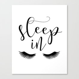 SLEEP IN PRINT, Let's Sleep In,Lashes Decor,Lashes Art,Good Night Print,Teen Girls,Calligraphy Quote Canvas Print