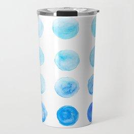 Calming Blue Watercolor Circles Travel Mug