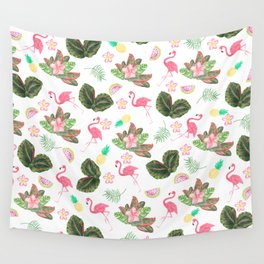 Tropical pink watercolor flamingo floral green leaves Wall Tapestry